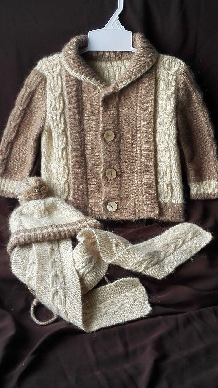 """Комплект """"Косы"""" для малыша (Шапочка, шарфик и кофточка).1,5-2 годика. Ручная работа."""