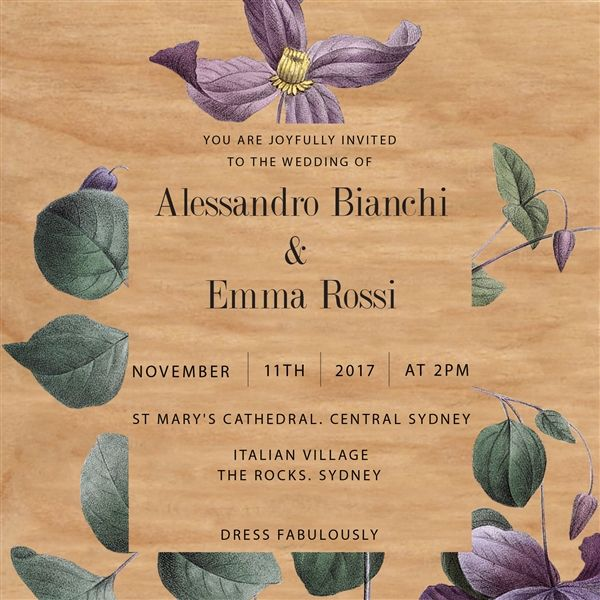 Wooden Wedding Invitation Suite - WOODI COLLECTION - Product Showroom 2017