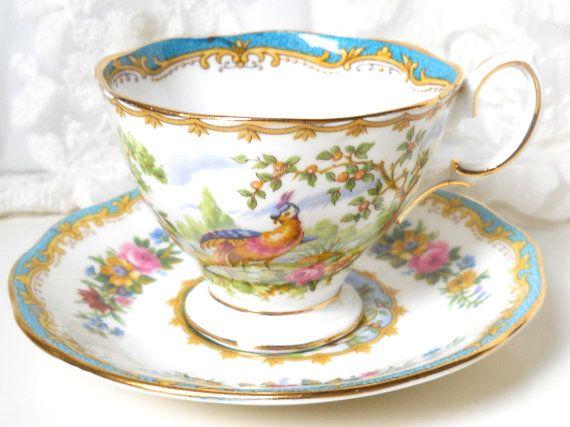 English Teacup Royal Albert Chelsea Bird Vintage