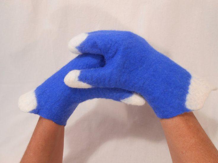 Felt mittens, Merino wool felted gloves, Blue-white merino gloves, Winter, autumn accessory by BuriFelt on Etsy