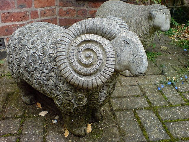 Sheep Sculpture by p.devenish, via Flickr Rams look they are related to both Princess Leia, and to ammonites