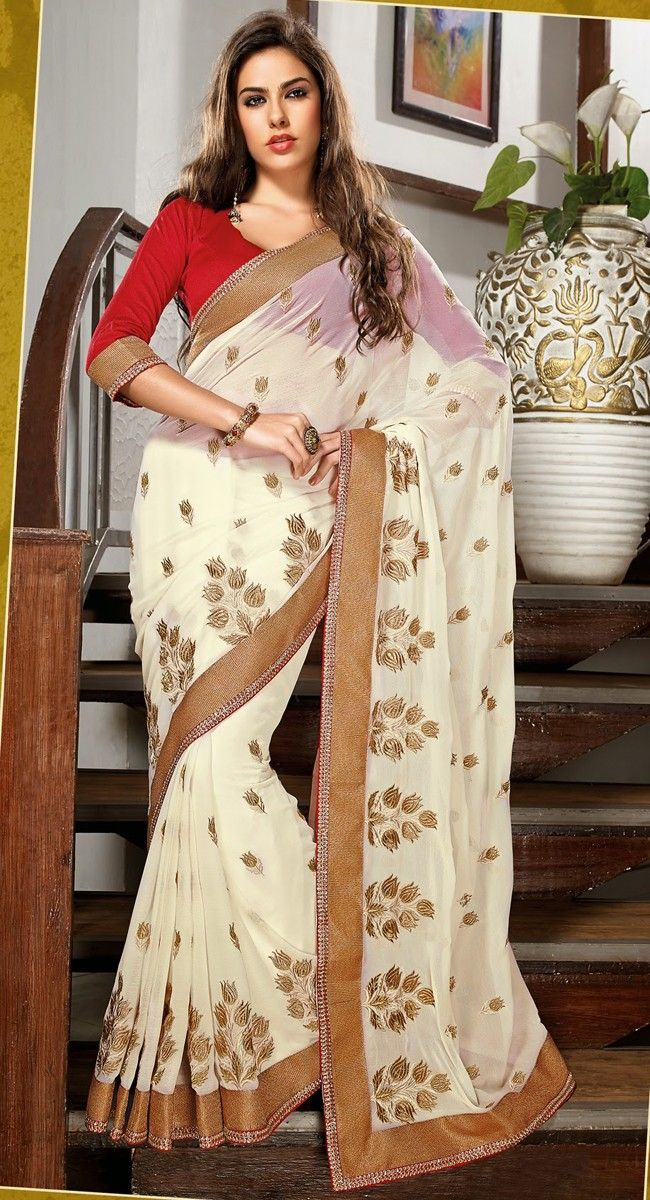 Sparkling Ivory Embroidered #Saree