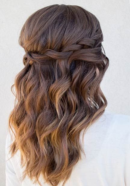 Waterfall Twist + Beachy Waves Half Updo