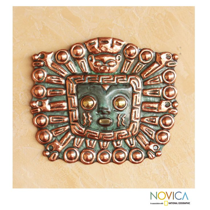 Copper and Bronze 'Moche Warrior Insignia' Inca Mask (Peru) $70