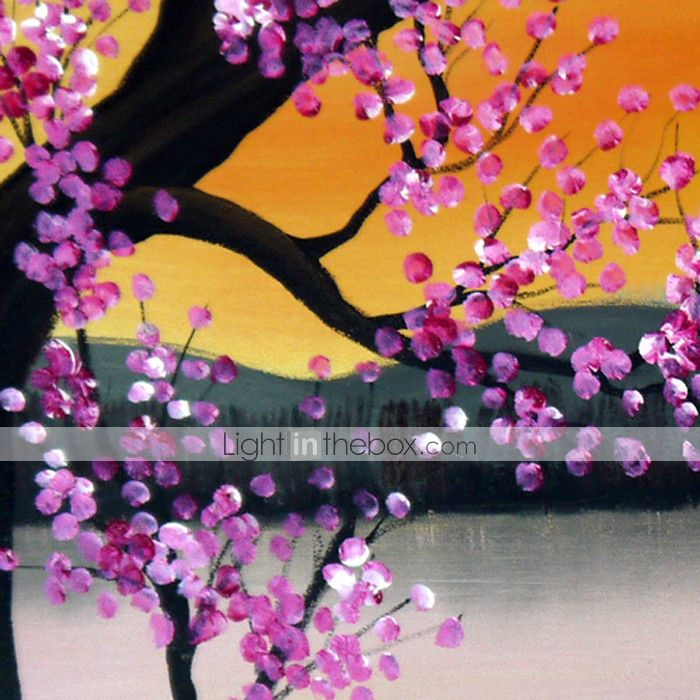 olieverfschilderij bloemen pruim bloemen set van 3 met gestrekte frame 1307-fl0156 met de hand beschilderd doek 2015 – €97.84