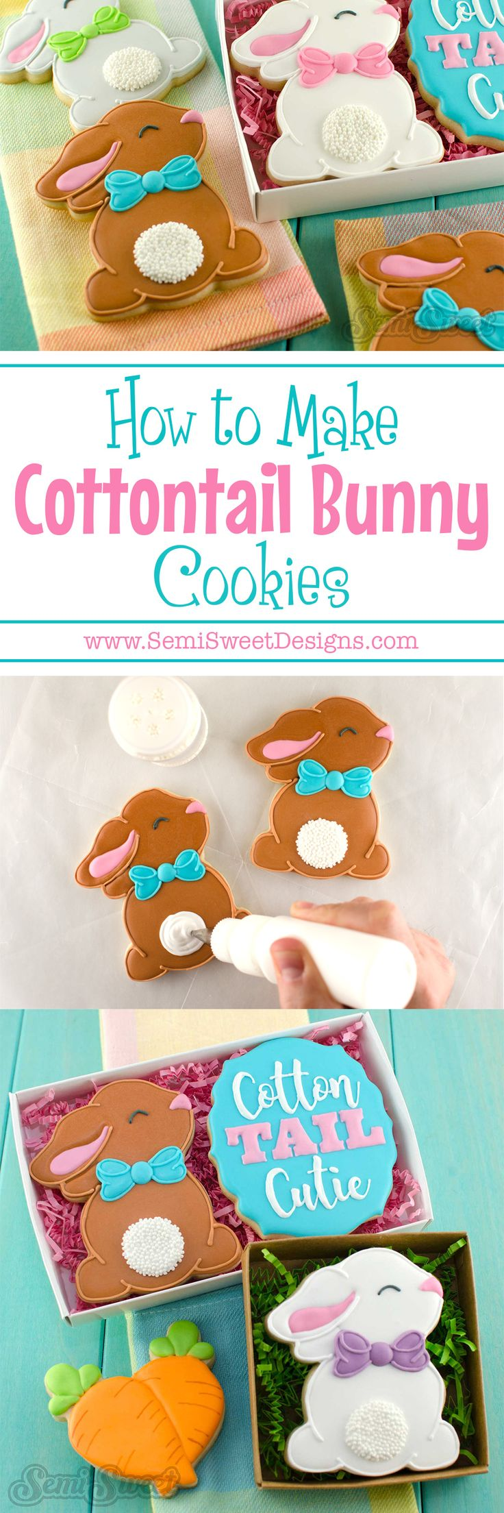 How to make cottontail bunny cookies by SemiSweetDesigns.com | Complete step by step tutorial with video and free template