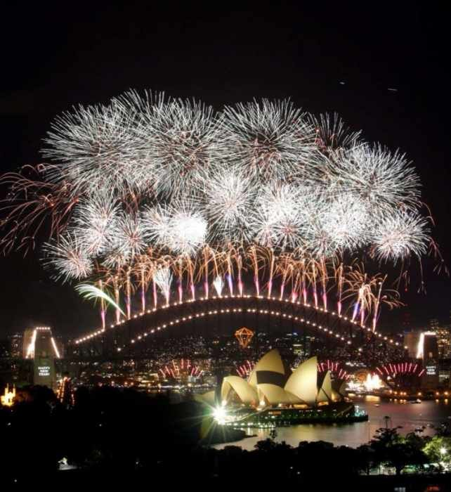 Sydney New Year's Eve Fireworks view from The Macleay hotel Potts Point