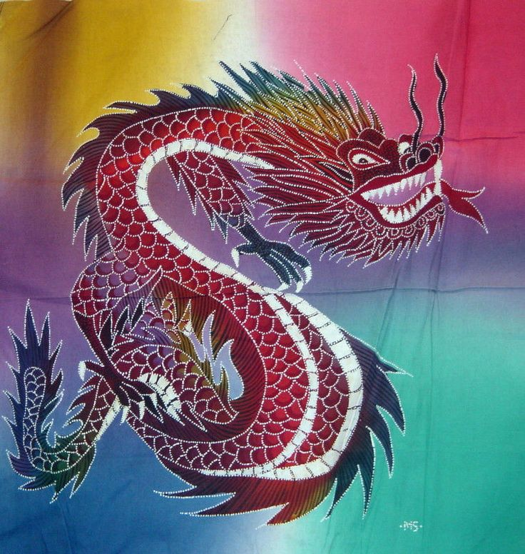 """Asian Batik Painting from Indonesia Flying Dragon 18"""" by 18"""""""