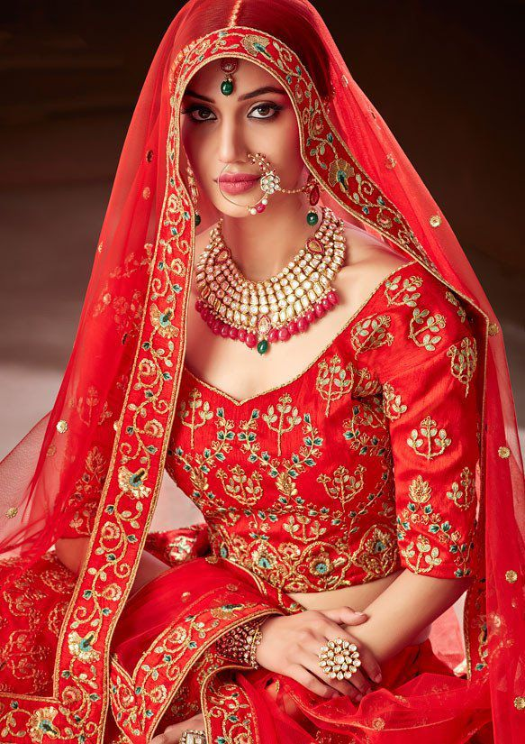 Buy Red color pure soft silk Indian wedding lehenga in UK, USA and Canada