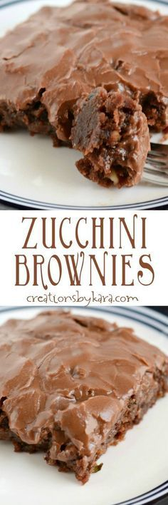 Zucchini Brownies with chocolate frosting. One of the best ways to use up zucchini!