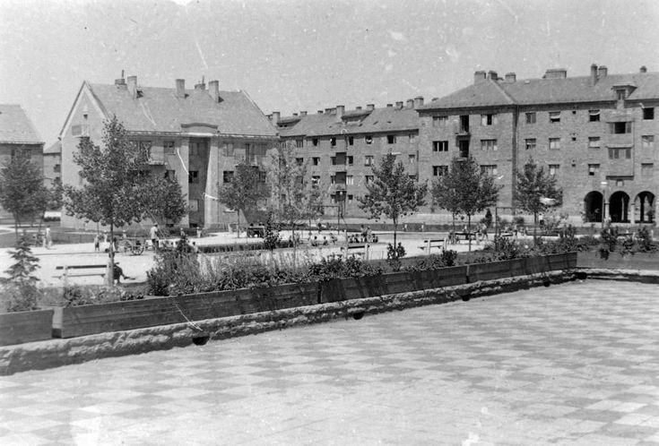 (Sztálinváros), Petőfi-liget, balra a Görbe utca házai.