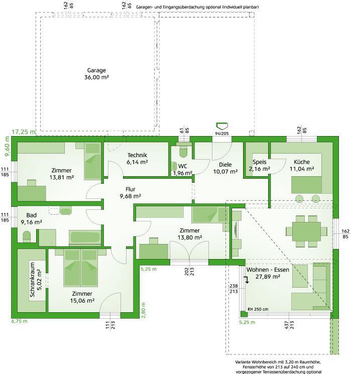 107 best Grundrisse images on Pinterest Bungalow floor plans - plan maison 170 m2 plain pied