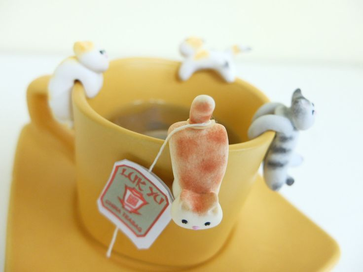 Cat Tea Bag Holder A - Cute Cat Tea Pot Teabag Holder - Cat Lovers Teabag Holders - Funny Cup Decor - Mug Decal - Mug Decor - Bowl Decor by MiniHandsCrafts on Etsy