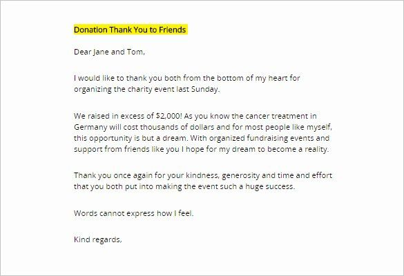 28 Thank You Donation Letter Template In 2020 Thank You