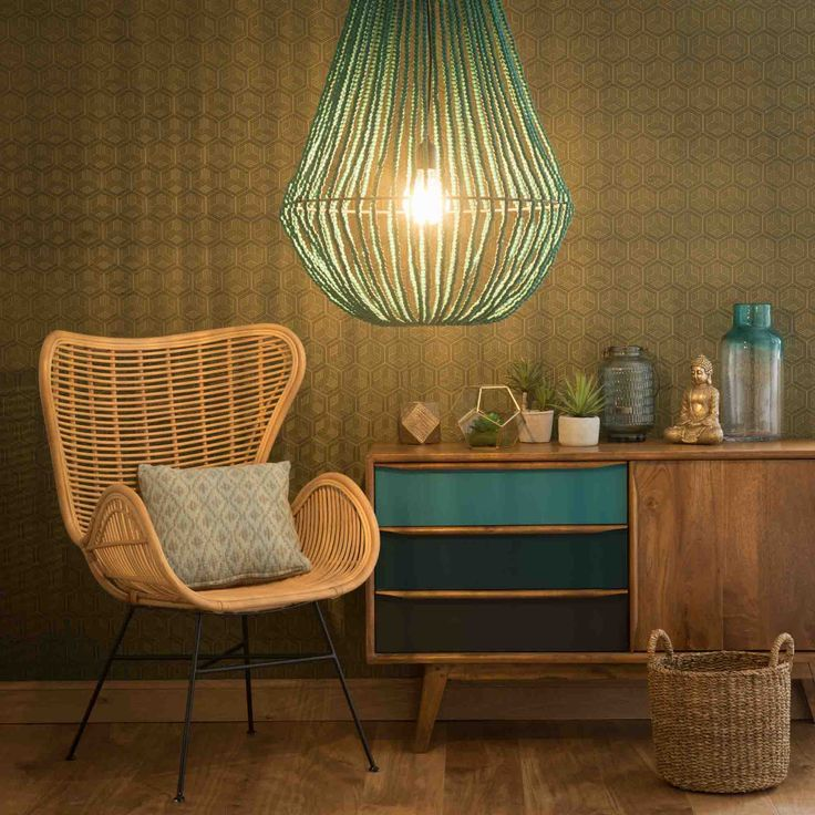 simple suspension en mtal et bois verte d cm apucarana maisons du monde with luminaires maison. Black Bedroom Furniture Sets. Home Design Ideas