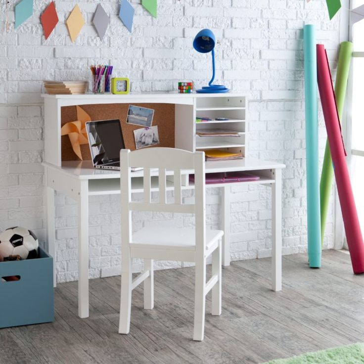 White Painted Wood Storage Study Table With Armless Chair For Kids Room As Well As Chairs For Kids Desk  Plus Children\'s Computer Desk