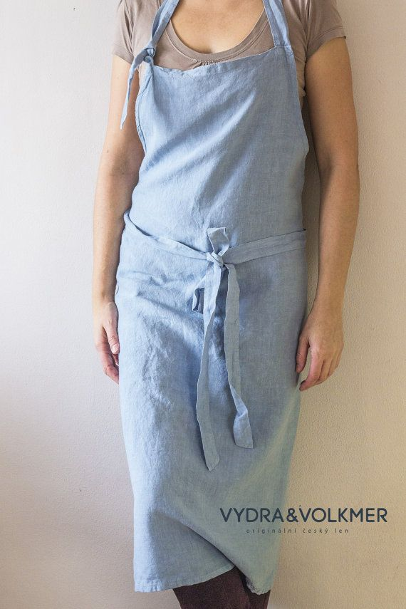 Pure linen washed apron Café // unisex // dusty by vydravolkmer