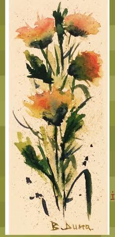 Flowers, original watercolor, 9x19 cm