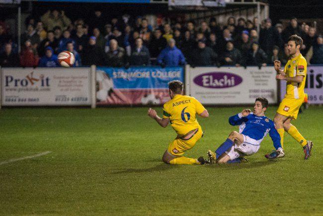 Tom Pett scores Wealdstone's late winner against Concord Rangers in the Ryman Premier League