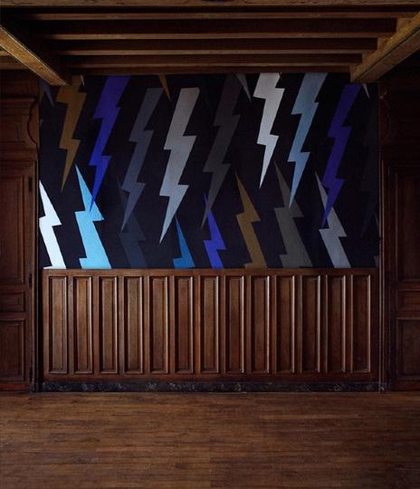Wainscotting & wallpaper - lightning bolts