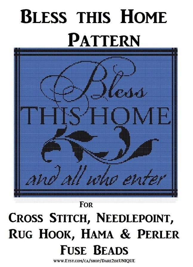 Bless this Home Tapestry PATTERN, Cross Stitch, Needlepoint Embroidery Rug Hook Designs, Perler Patterns, Hama Crafts, Instant Download PDF by Dare2beUNIQUE on Etsy