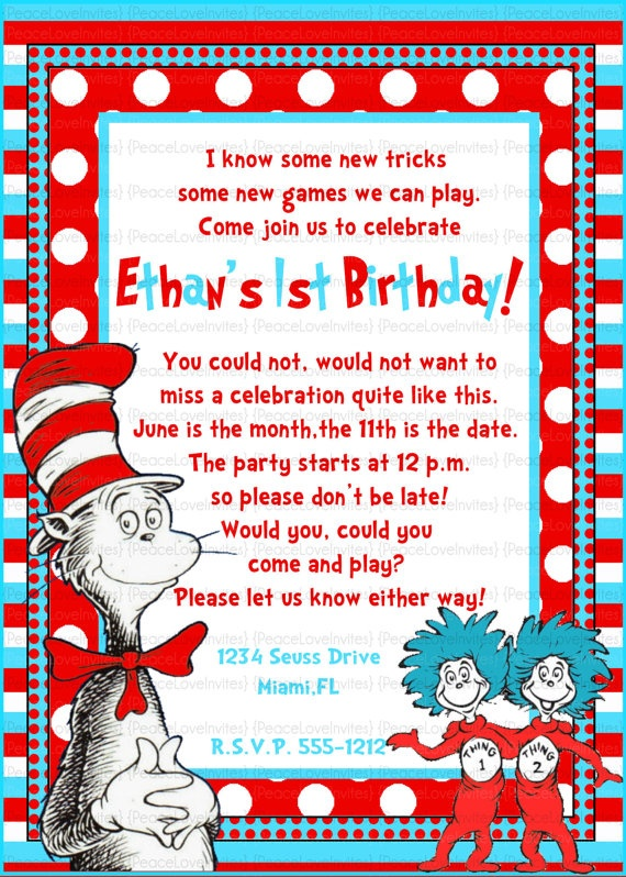 79 best cat in the hat invite images on pinterest personal cat in the hat invitation too cool for a kids birthday party bookmarktalkfo Choice Image