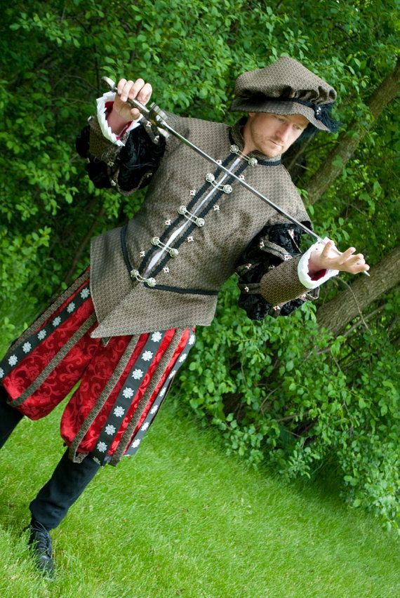 Renaissance Noblemen Jerkin Tudor Hunting outfit with hat, bracers and pants CUSTOM. $295.00, via Etsy.
