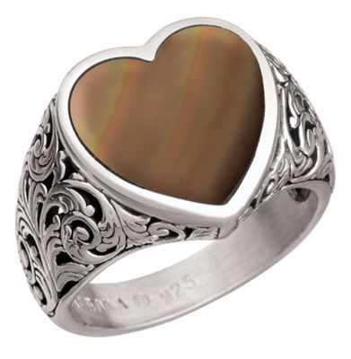 Kabana Jewelry Sterling Silver Filigree Heart Ring - Bronze Mother of Pearl  - 7.5