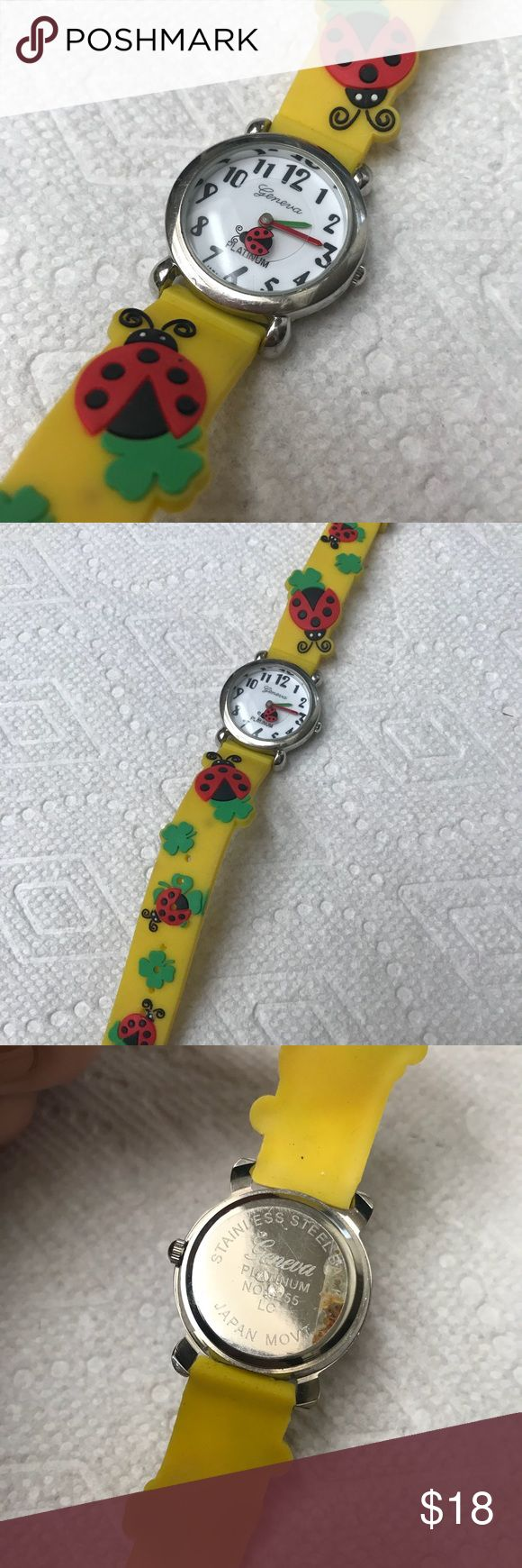 Geneva Ladybug Watch New Working Japan Yellow Cute ladies watch from Geneva with Japanese movement. In excellent unused shape. Still has plastic protective coat on metal. Rubber watch band. Bright colors. Very cute! Geneva Accessories Watches