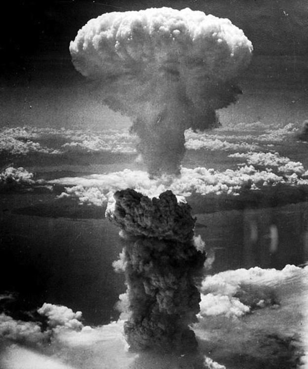 A gigantic mushroom cloud billowed over Nagasaki, Japan, when an atomic bomb was dropped on the city in 1945.