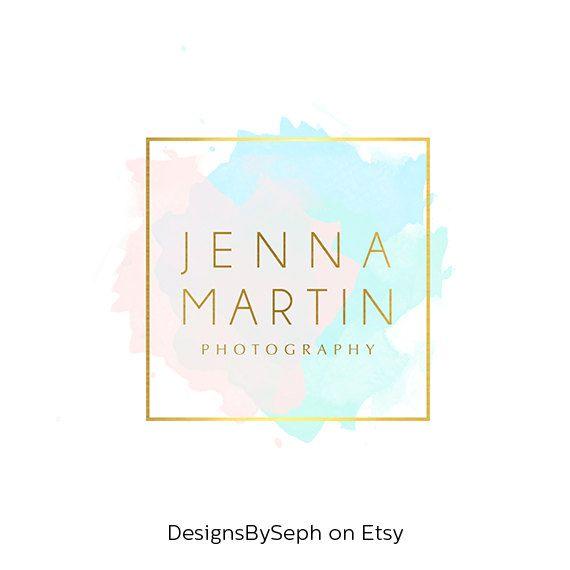 pre made logo design photo watermark watercolor logo blog header website logo gold. Black Bedroom Furniture Sets. Home Design Ideas