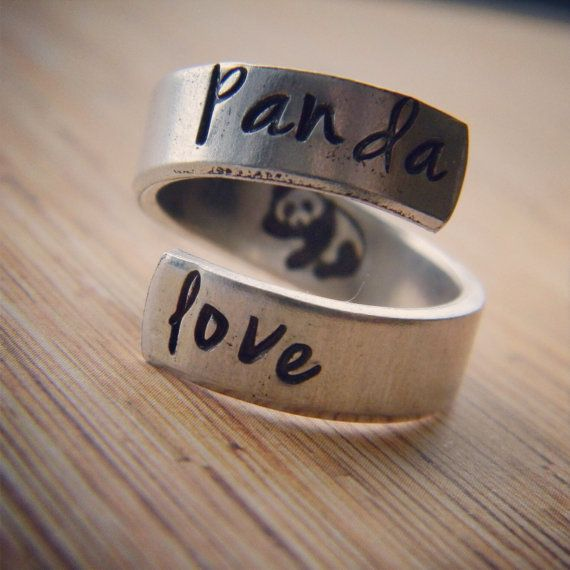 Panda love hand stamped aluminum spiral  ring by LindaMunequita So so cute i want it!!! <3 <3 :)