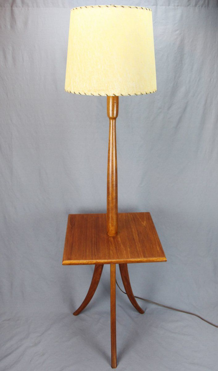 Finer Things Antiques A Solid Teak Floor Lamp With Built In Table And Vintage Parchment Shade
