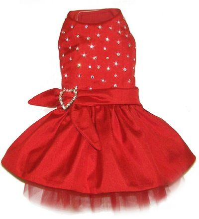 Red Dupioni Exclusive Designer Dog Dress with Swarovski