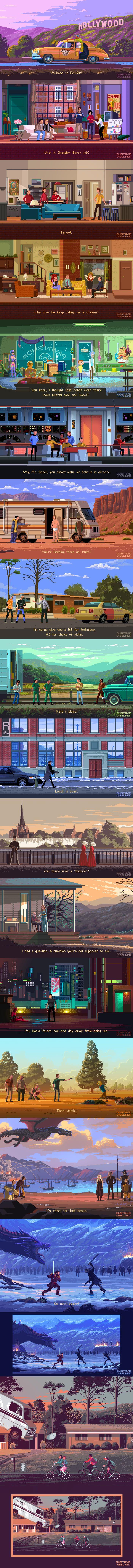 Pixel artists creates Adventure Game Scenes Based On Tv Series!