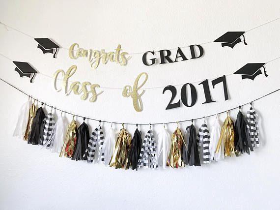 Abschluss Banner | Glückwunsch Grad Banner | Klasse von 2017 Banner | Abschlussfeier Dekor | Glückwunsch Banner | Schwarz und Gold Graduatio