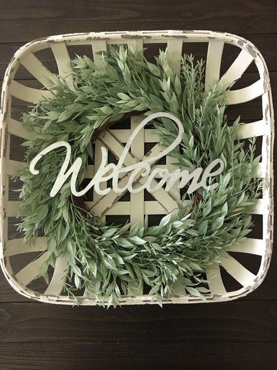 Tobacco Basket With Wreath   Honey Locust & Rosemary Wreath   Tobacco Basket   Farmhouse Decor   Rustic Decor   Wreath   Welcom