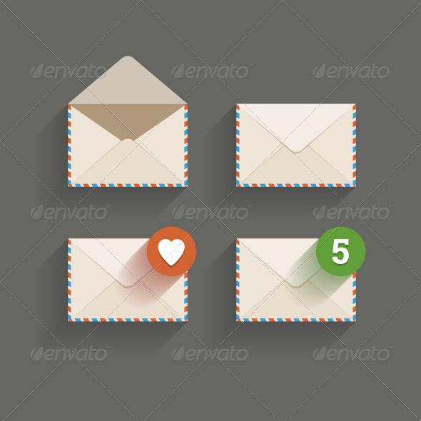 Flat Email Icons by zanimanski Flat email icons on dark background. Vector illustration in editable EPS10 and render in JPG.