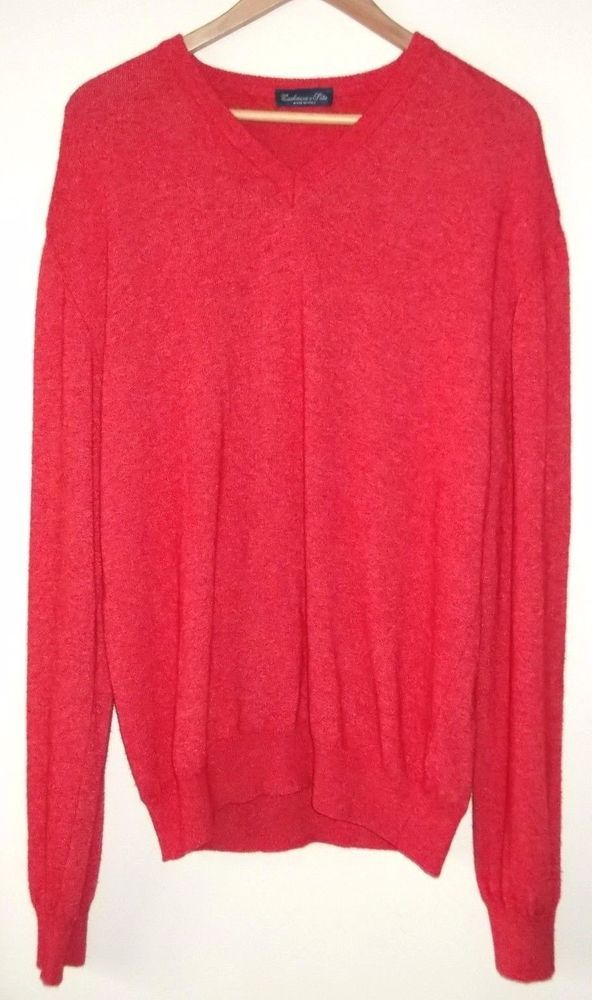 Cashmere Silk Wool Men's XL Red Jumper Pullover Made in Italy #CashmereeSeta