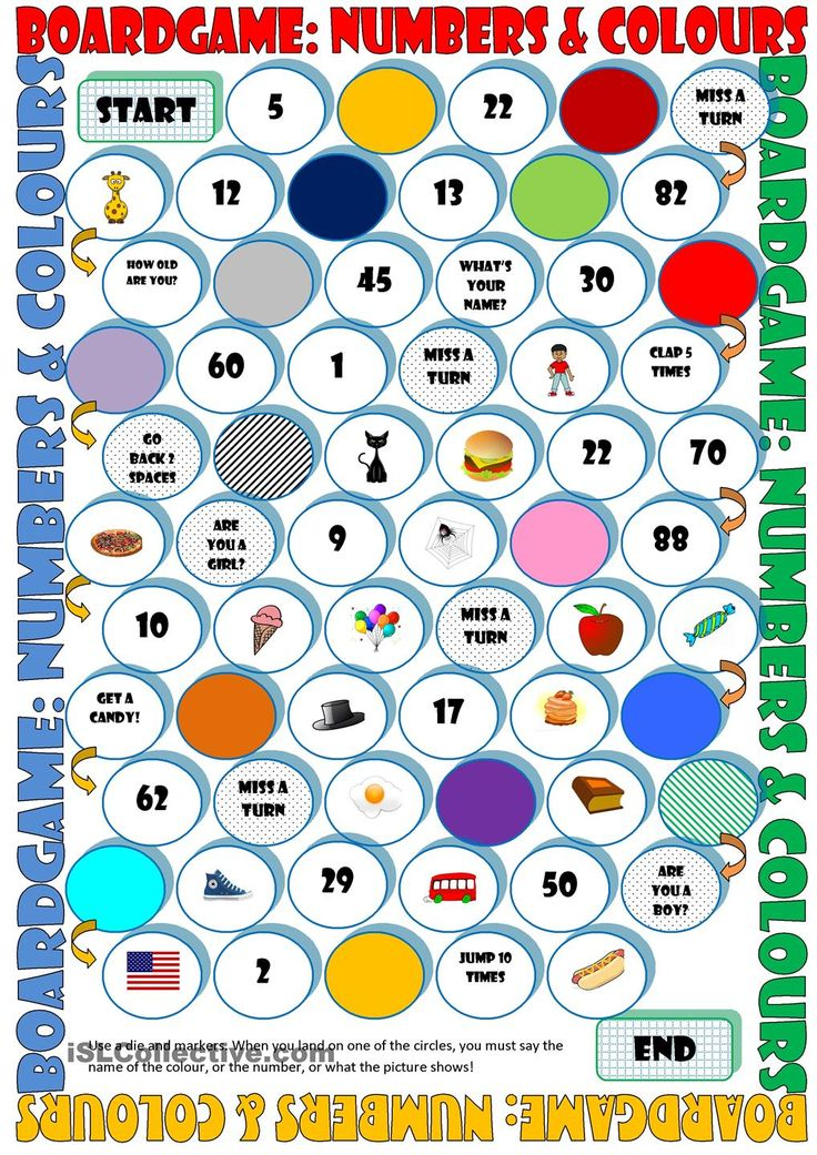 Board Game Numbers & Colours Para minhas aulas