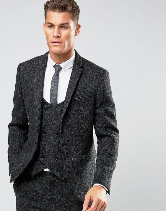 ASOS Slim Suit in Gray Harris Tweed Herringbone 100% Wool