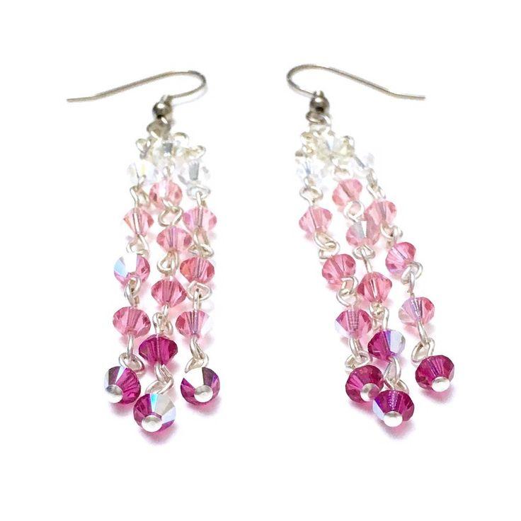 Crystal Cascade Earrings - Pink Ombré, Swarovski