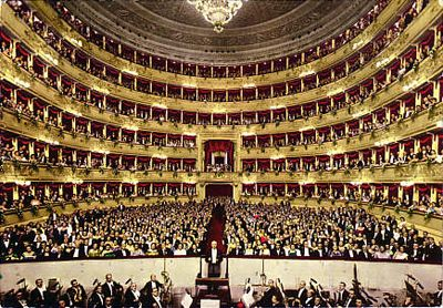 La Scala.  A humble building on the outside and a gorgeous interior.  I would love to go back and watch a performance!
