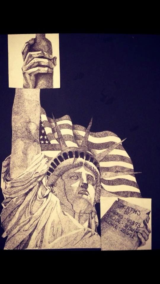 This is a pen and ink drawing of the statue of Liberty (with some changes) entitled The Problem With America. The dotted pattern in most of the