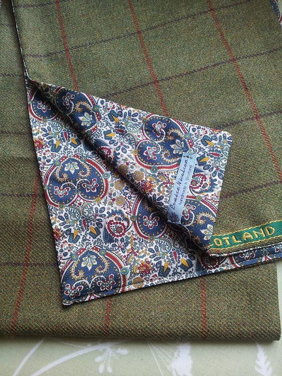 Scottish Gamekeepers Tweed Scarf with Liberty Print by LoullyMakes, £45.00
