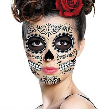 Sugar Skull Face temporaire Tattoo tête de mort visage