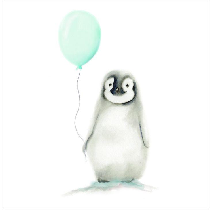Penguin with Round Balloon Nursery Art Print