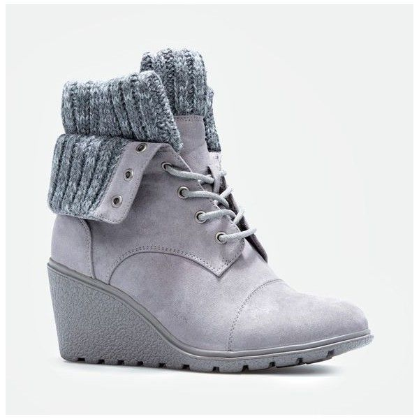 Justfab Booties Maven (£34) ❤ liked on Polyvore featuring shoes, boots, ankle booties, footwear, wedges, grey, wedge boots, platform wedge boots, wedge heel boots and grey wedge booties