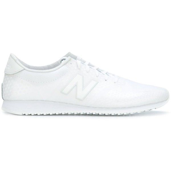 new balance shoes white. new balance lateral patch sneakers ($105) ❤ liked on polyvore featuring shoes, shoes white