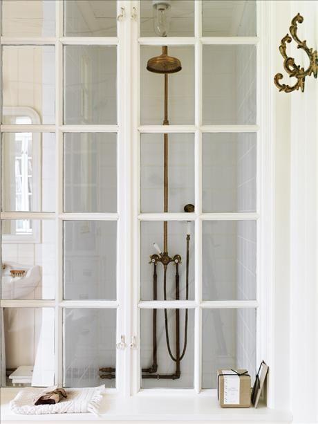 french doors + brass waterworks shower head